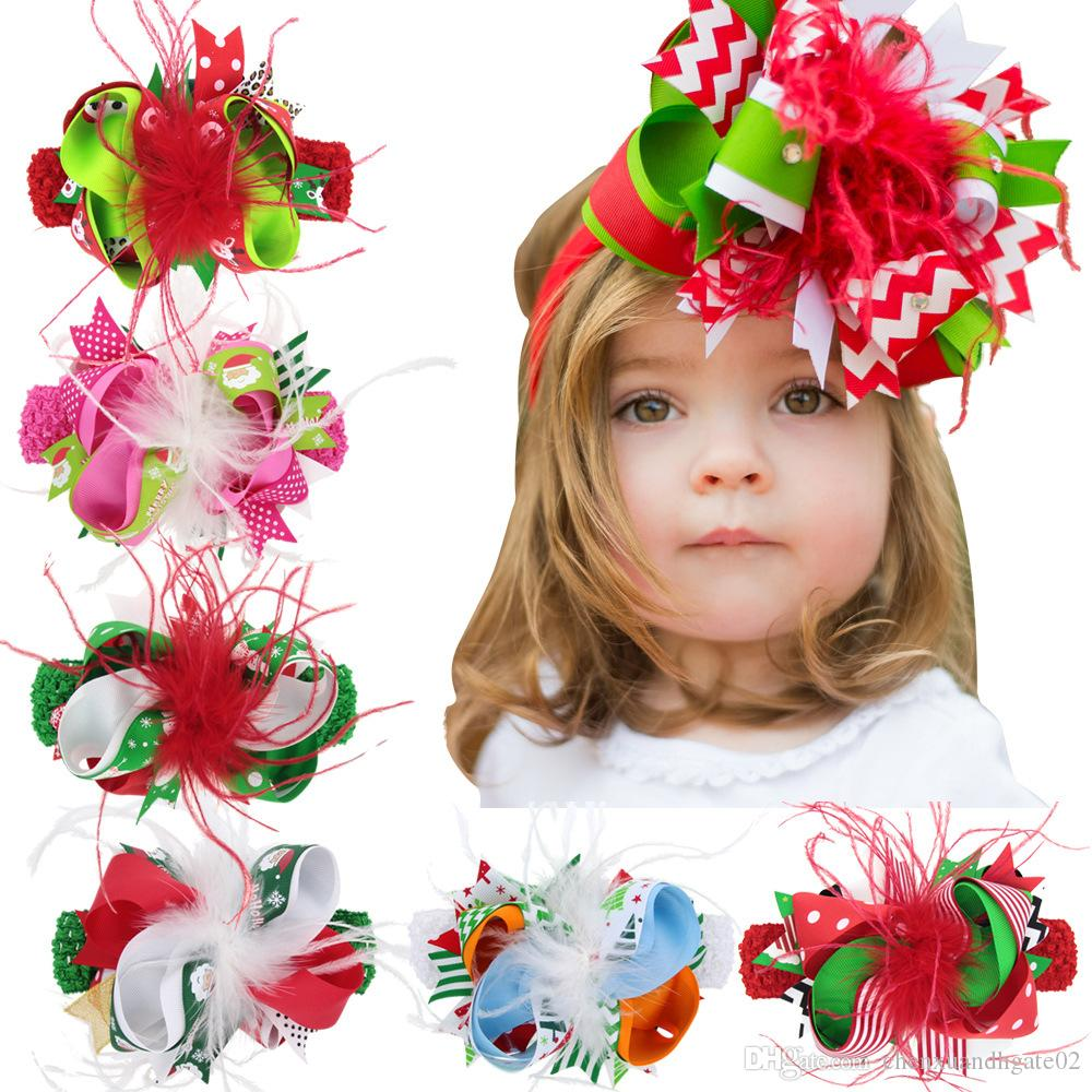 Christmas Headband For Baby Girl.Baby Girls Christmas Headbands Bow Feather Boutique Children Hair Accessories Kids Elastic Grosgrain Ribbon Hairbands With Bowknot Clips