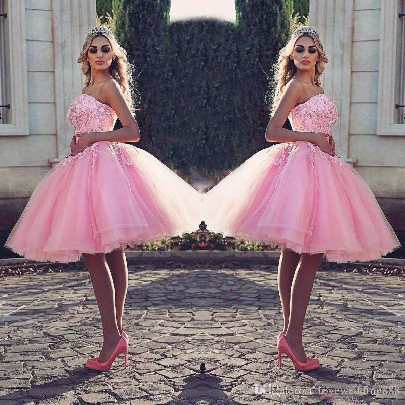 Pink Short Prom Kleider Puffy Ballkleid Tanzen Dubai Arab 2018 Günstige Spitze Applique Tulle Puffy Cocktail Party Kleid