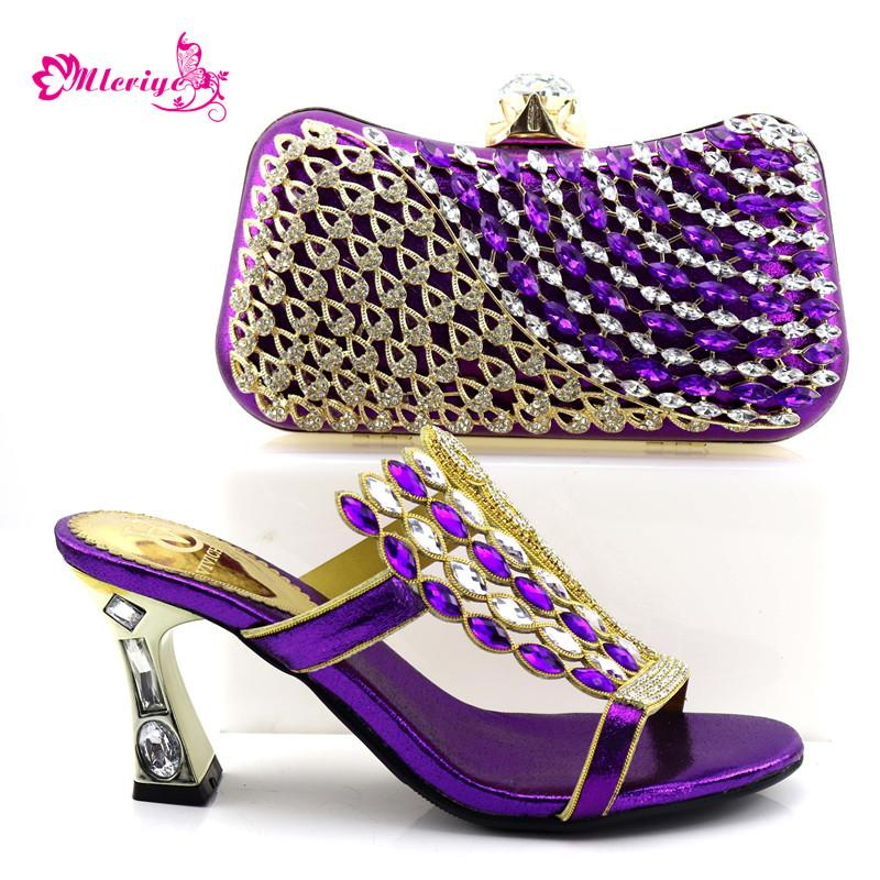 purple Wedding Newest Design Decorated with Rhinestone Matching Italian Shoes and Bag Platform Nigerian Shoe with Bag Set