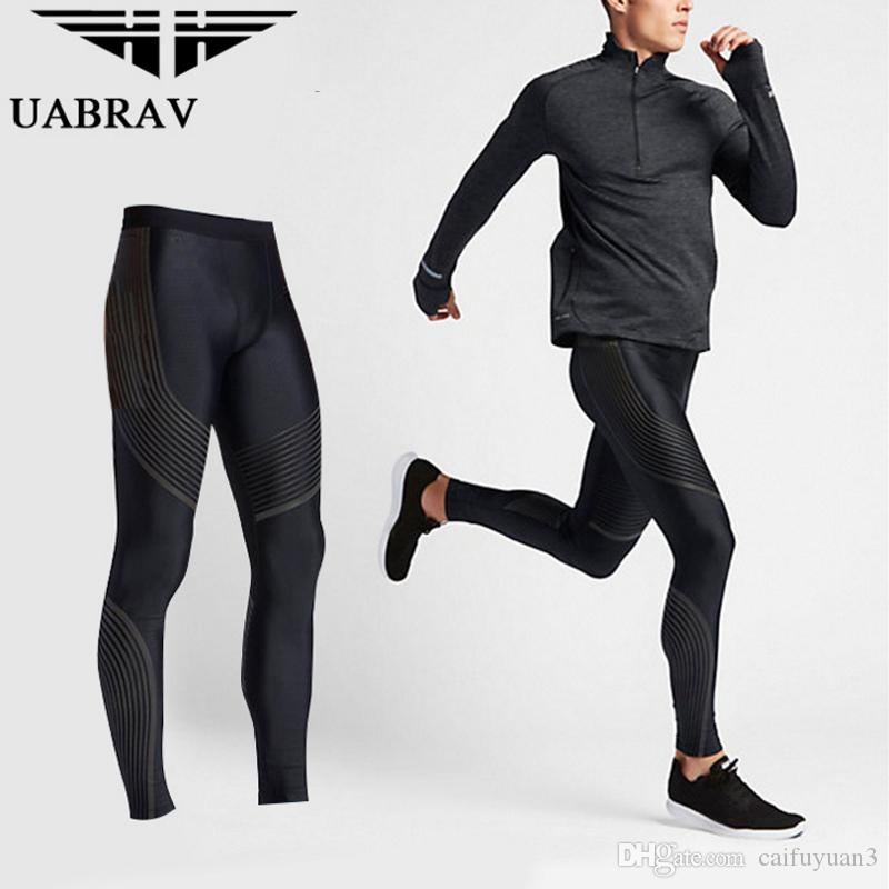 2018 New UABRAV Running Tights Men Sports Leggings Sportswear Trousers  Pants Plus Size Fitness Compression Running Pants UK 2019 From Caifuyuan3 5e1528ead542