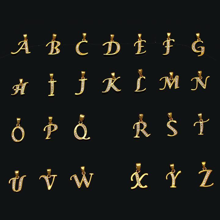 1213fb0b734 Acheter Fansheng Petites Lettres Collier En Or Couleur Zircon Cubique Lettre  Bijoux Pendentif Initiale Chaîne De 45cm Pour Les Femmes   Homme   Bébé De  ...