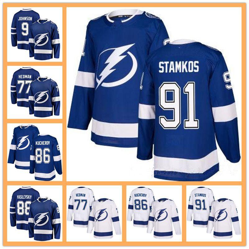 2018 Men s Tampa Bay Lightning Jersey 91 Steven Stamkos 77 Victor Hedman 86 Nikita  Kucherov Andrei Vasilevskiy Ryan McDonagh Hockey Jerseys 2018 Men s Tampa  ... 1117b65cf