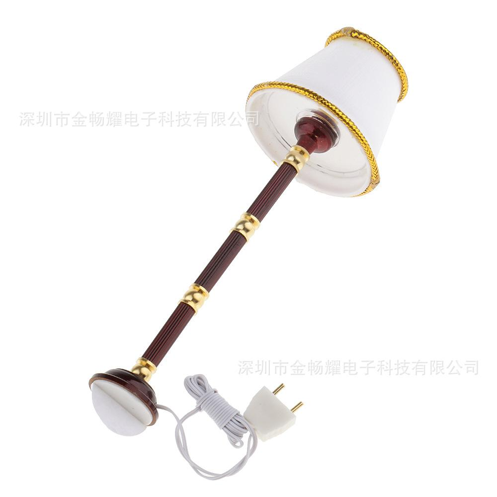 Dollhouse Miniature Light 01:12 Échelle or garni Shade Cane Look Lampadaire