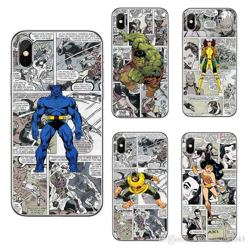 bc1bbbcf4a2 Cartoon Marvel Comic Spider Man Captain America Hard PC Case For IPhone 8 7  6 6S 6Plus 5S X S8 Plus S7 S6 Edge Protector Cover Shell GSZ334 Unique Cell  ...