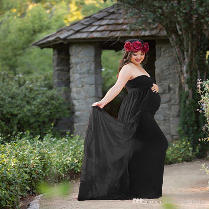 Vestidos de maternidad para la foto de fotografía con cuello en V Vestido rojo Fotografía de la maternidad Apoyos Vestido de embarazo sin mangas Maternidad crecida