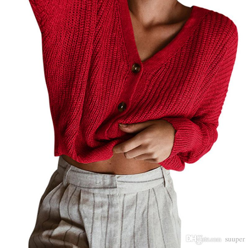 bf6437f417 2019 Oversize Knitting Women Sweater 2018 Autumn Winter Single Breasted  Cropped Tops Casual Streetwear Red Sweater Pull Femme From Suuper