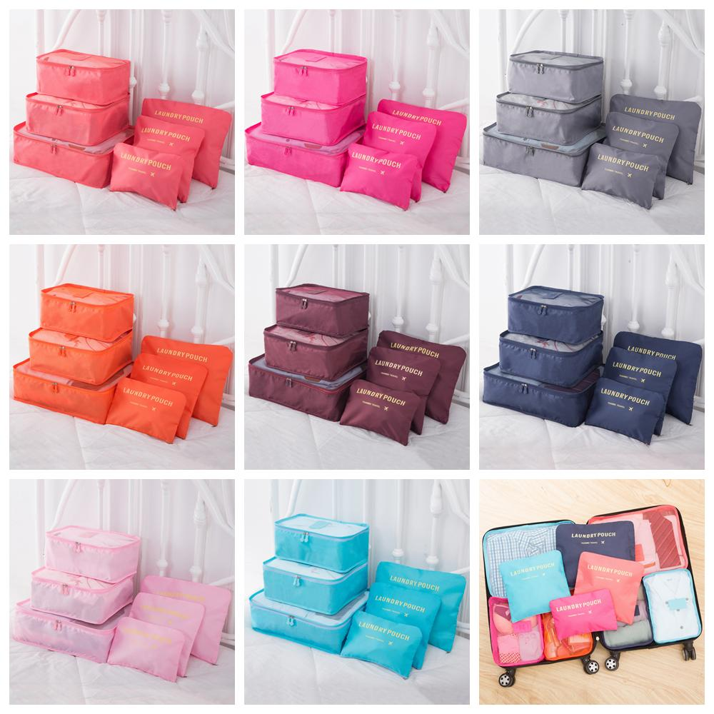 6 pcs/lot Portable Travel Home Luggage Storage Bag Set Clothes Storage Organizer Cosmetic Bags Bra Underwear Pouch Bags 8 Colors AAA751