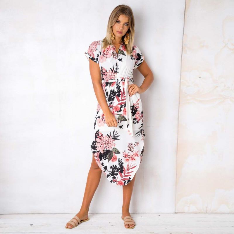 976627450e3 2019 Long Bohemian Summer Dress Women Floral Print V Neck Short Sleeve  Split Sundress Casual Sexy Robe Femme Beach Party Vestido White Dresses  White Dress ...