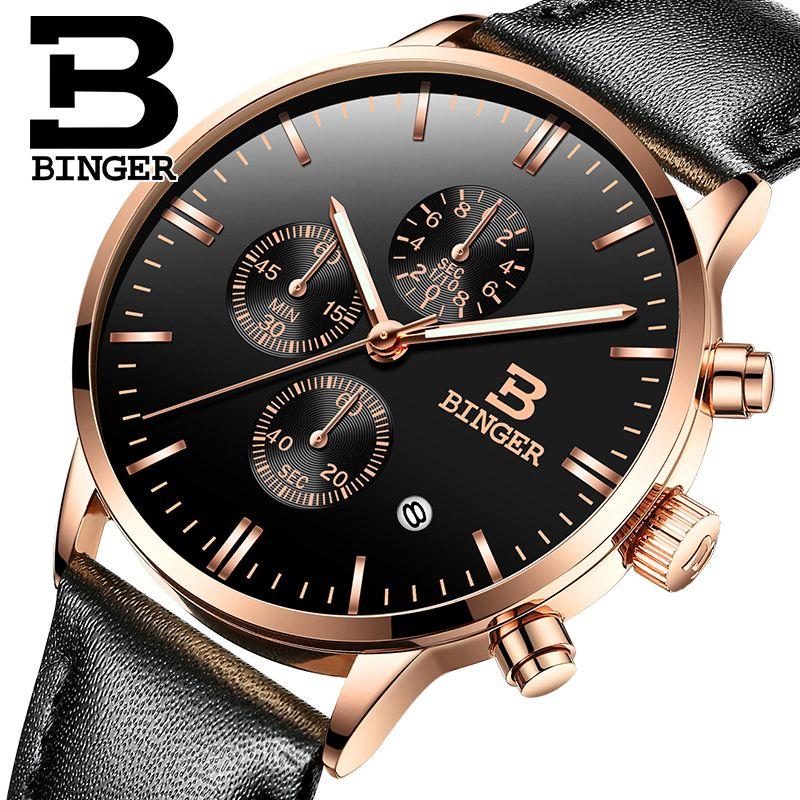 bbbf878f732 Compre Relogio Masculino BINGER Hot Chronograph Homens Relógios Esportes De Quartzo  Relógio De Marca De Luxo Homens Relógio 2017 Pulseira De Couro Preto ...