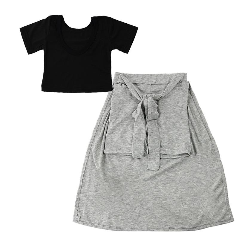 24 M-6 T Conjuntos de Roupas Meninas Do Bebê Preto T-shirt e Saia Cinza / Sets Roupa Dos Miúdos 2018 Crianças Roupas de Verão Meninas Traje