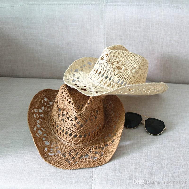 942b3b947 Women Hollow Out Straw Hat Summer Wide Large Brim Beach Cap With Straw Bow  Unisex UV Protection Sun Hats