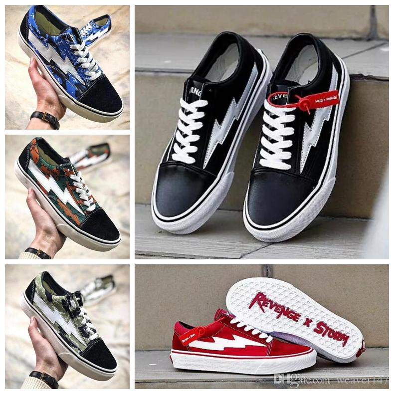 2018 Revenge x Storm Old Skool Classic Canvas Skate Board Shoes Low Cut Skateboard Top Quatily Casual Shoe Sports Sneakers