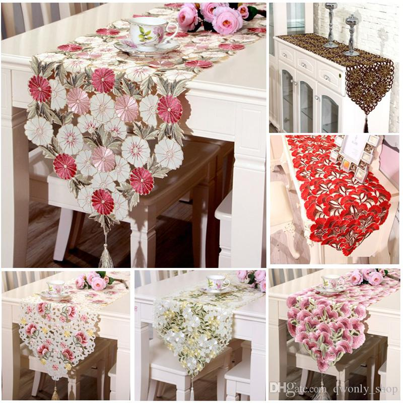 Fashion Embroidered Table Runner Floral Lace Dust Proof Covers For Table  Home Party Wedding Table Decoration Party Supply Yellow Table Runner Yellow  Table ...