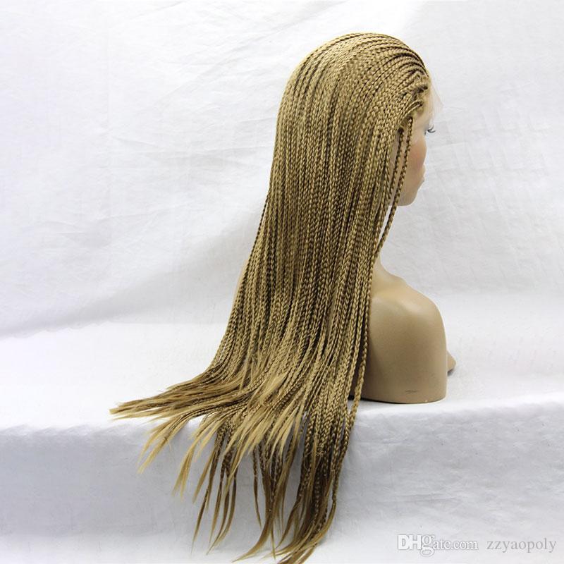 Yaopoly perruque longue perruque afro-américaine tressée brune synthétique perruque avant de lacet pour les femmes noires