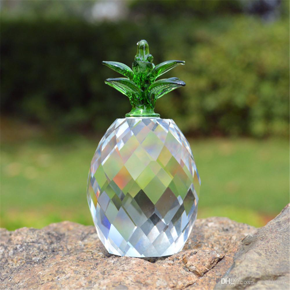 Crystal Yellow Block Pineapple Figurine Ornaments Christmas Sale Feng shui Festive Party House Desk Deocration Craft Gift