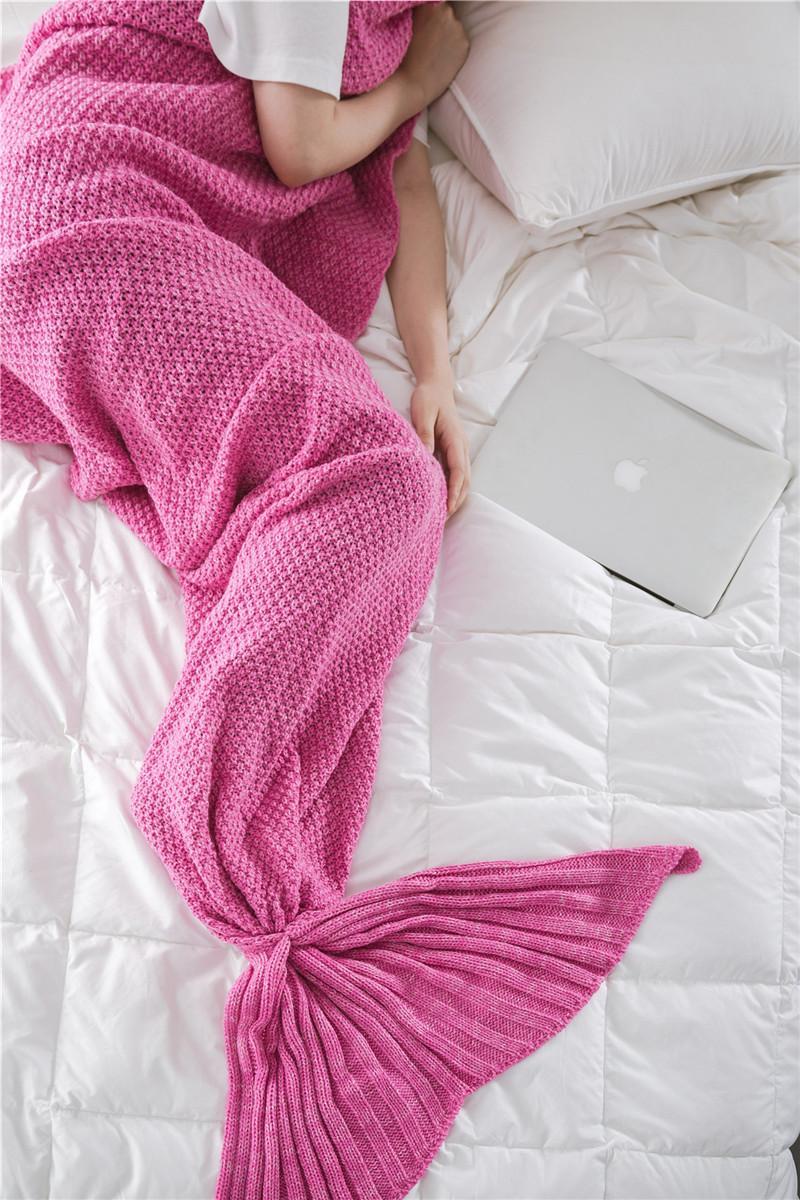 3 Estilos Adultos Niños y Bebé Hecho A Mano Mermaid Tail Manta Crochet Mermaid Tail Sacos de dormir Cocoon Colchón Knit Sofá Manta libre de DHL