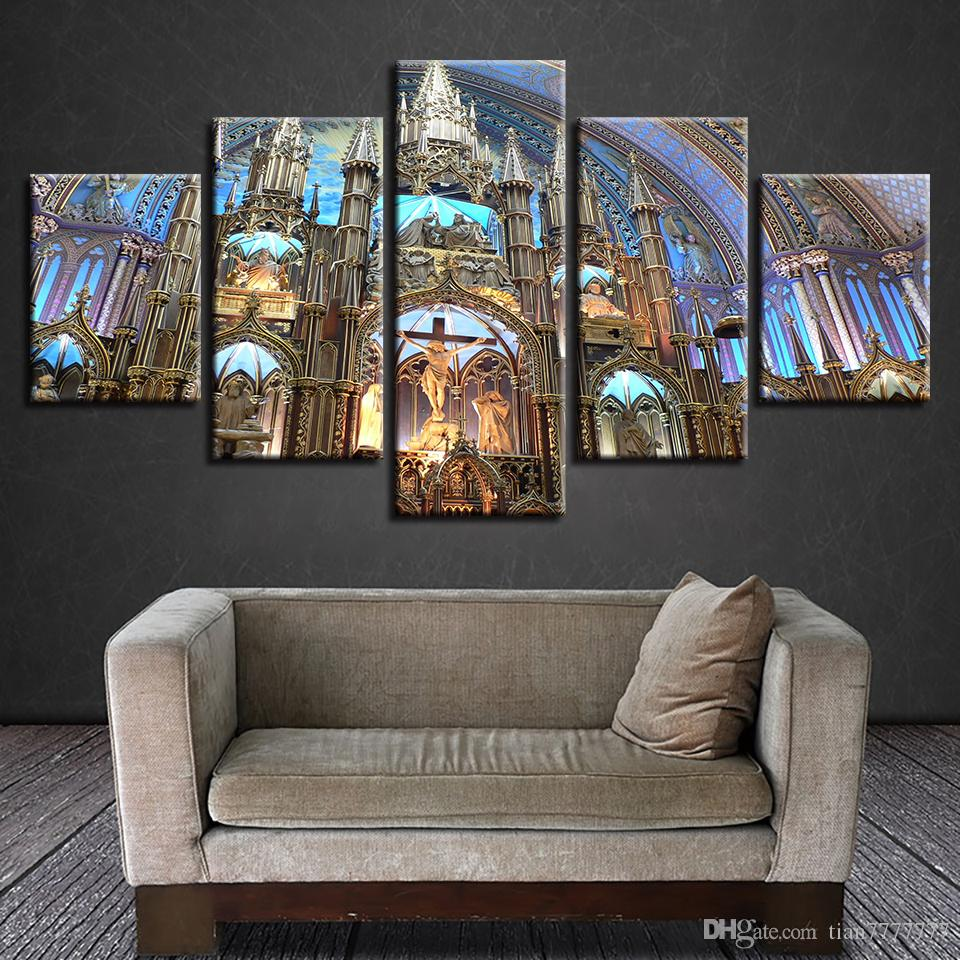 Modern Home Church Wall Art Picture 5 Pieces Religious Jesus Oil Picture Canvas Print Room Decorative Poster Painting No Frame