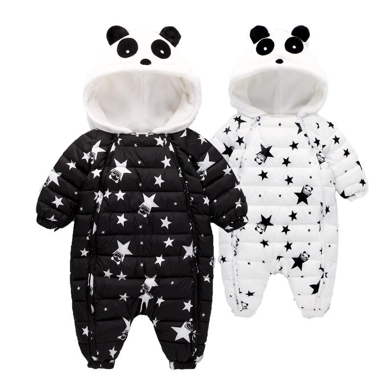 29cf71d5e0f8 Winter Baby Rompers Overalls Clothes Jumpsuit 3-24Mouth Panda ...