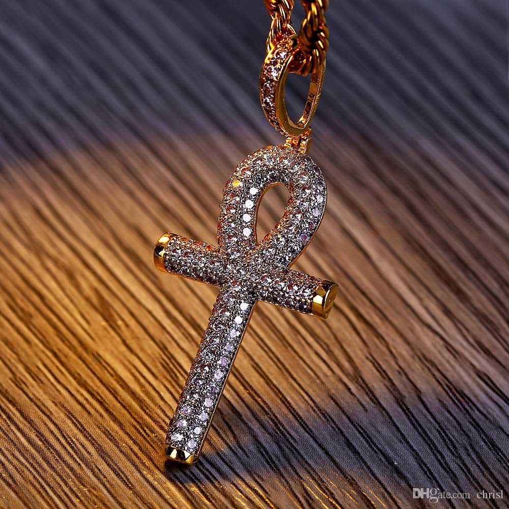 Hip Hop Ägyptische Ankh Key Kreuz Anhänger Halskette Iced Out Gold Silber Farbe Überzogen Micro Gepflastert Zirkon Anhänger Halskette