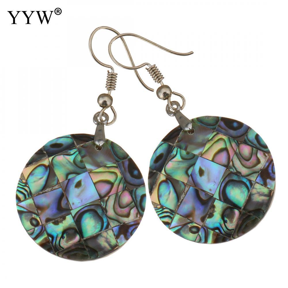 2147949ae 2019 Shell Dangle Earrings Brass With Abalone Shell Flat Round Silver Color  Plated For Woman 48mm 25mm Sold By Pair From Linyicity, $33.26   DHgate.Com