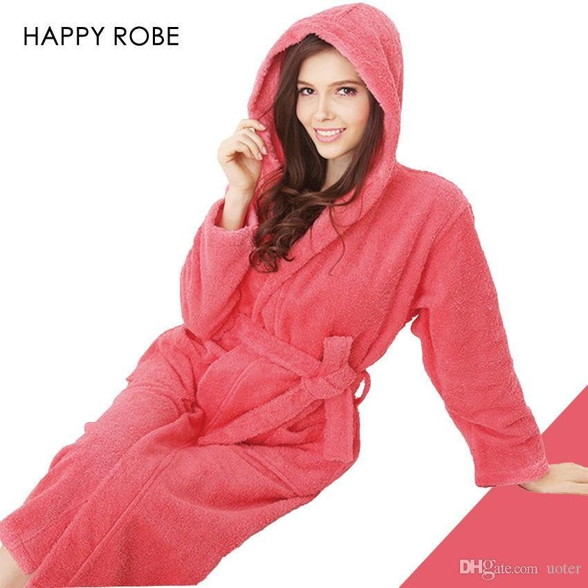 6e90512bfa Wholesale-Hooded Toweled Bathrobes Cotton Robe Lady Women Robe Autumn And  Winter Waste-absorbing Thick Soft Bathrobe Soft Bathrobe Towel Bathrobe  Women Robe ...