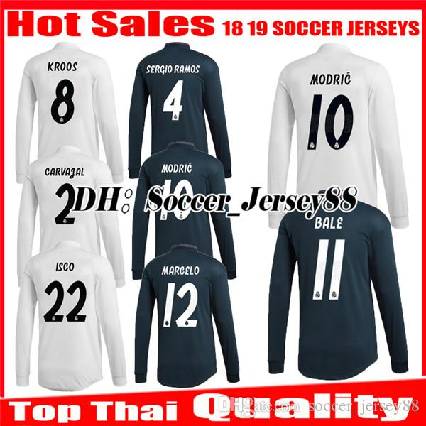 7ce220a572 Acheter 2018 2019 Real Madrid Maillot De Football À Domicile Manches  Longues 1819 BENZEMA BALE KROOS RAMOS MODIC ISCO NAVAS ASENSIO MARCELO Maillots  De ...