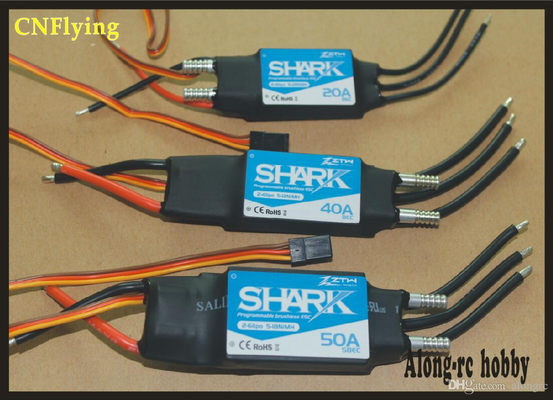 free shipping - ztw shark 20A 40A 50A 60A 70A 80A Waterproof brushless ESC For Boat With Water-cooling System for RC boat model