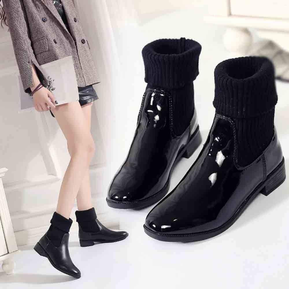 c676117dba8 Xiniu New Fashion Women Low Heel Rivet Booties Patent Leather Square Heels  Martin Boots Bottes Femme Army Boots Peep Toe Booties From Bearonly, ...
