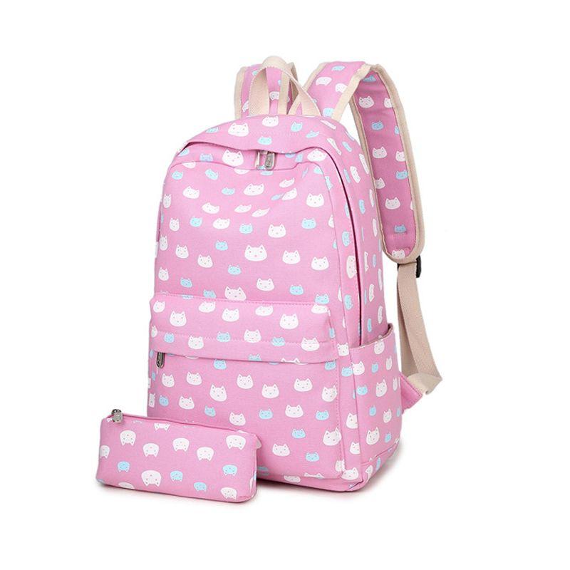 Cute Cat Printing School Backpack Women Cartoon Canvas Backpacks For Teenage  Girls School Bag Black Rucksack Embroidery Mochilas Best Backpacks Girls ... f8f61e40cab9a