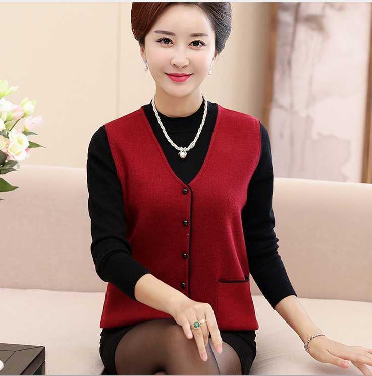 Women's Clothing Autumn Cashmere Womens Sleeveless Vest Sweater Top Dark Blue Cashmere Size Large