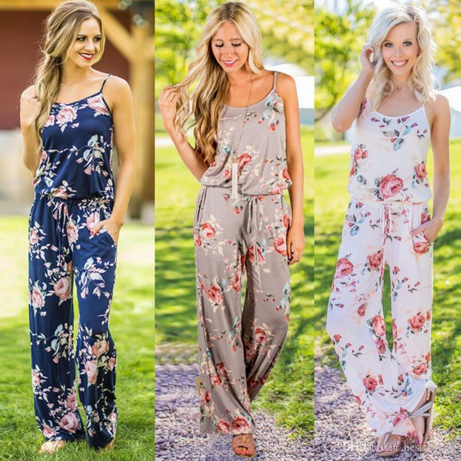 Women Spaghetti Strap Floral Print Romper Jumpsuit Sleeveless Beach Playsuit Boho Summer Jumpsuits Long Pants OOA4330
