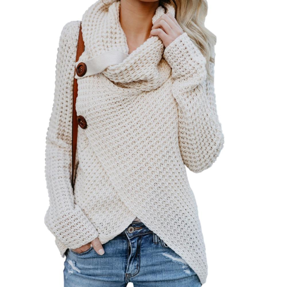 b244cd5cc8 2019 Knitted Women Sweaters Long Sleeve Autumn Female Pullovers Knitting  Irregular Button Sweater Plus Size Scarf Collar Tops GV293 D1892001 From  Yizhan04
