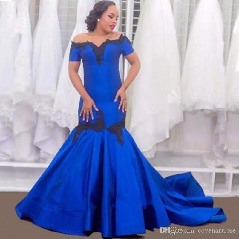 Modest Plus Size Royal Blue Evening Dresses Mermaid Off Shoulder Short Sleeve 2018 African Women Party Dress