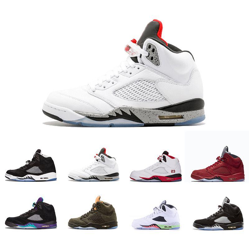 57fb4c58a033 New 5 5s Mens Basketball Shoes White Cement Bordeaux Metallic Silver ...