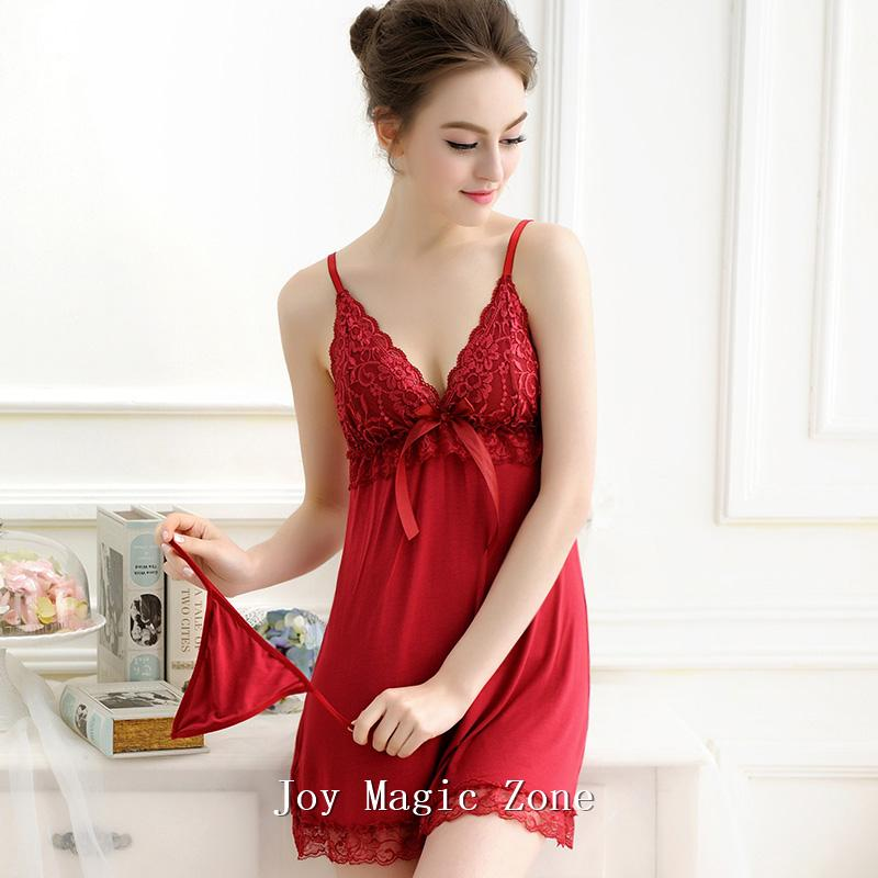 1190401b2239 2019 L539 New Arrival Summer Sexy Modal Women S Nightgown One Piece Sleep  Dress Red Wine Sleepwear Sexy Lingerie From Windowstore