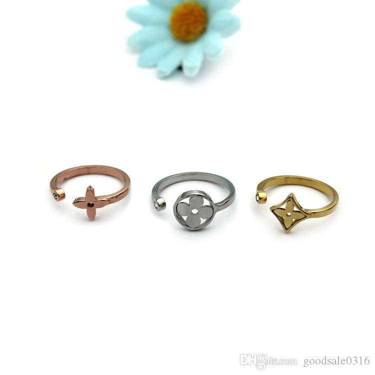 Новый stly Trend Марка 316L титана стали полые цветок трехцветный трехсекционный кольцо 18k золото открытие кольца Женские кольца