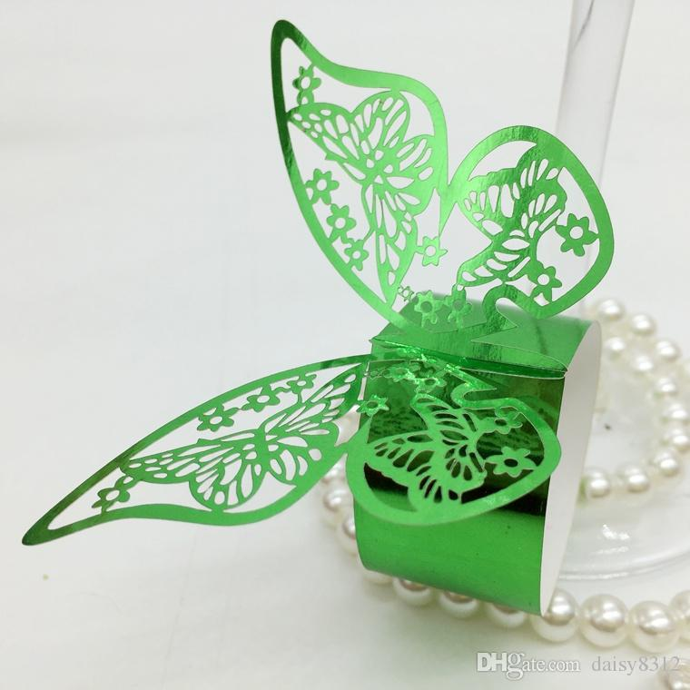 F13 Laser Cut Hollow Butterfly Paper Card Napkin Ring Serviette Buckle Holder Hotel Wedding Party Favour Decoration