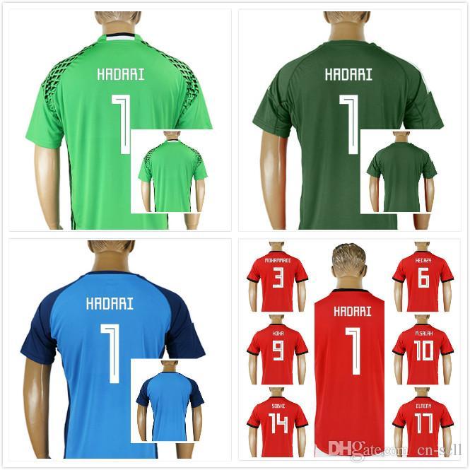 19807237c7a 2019 Custom 2018 World Cup Egypt Soccer Jersey M. SALAH 1 HADARI Home Red  Goalkeeper 18 19 KAHRABA A. HEGAZI RAMADAN Uniforms Football Shirts From Cn  Sell
