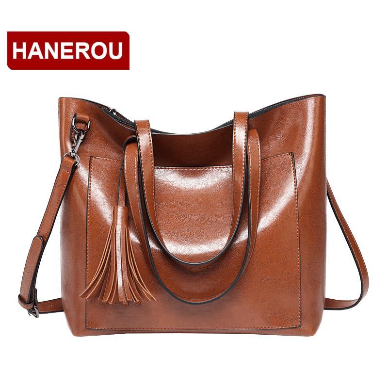 e35994110117 HANEROU Brand Women Leather Handbags Lady Large Tassel Tote Bag Oil Wax Female  PU Shoulder Bags Bolsas Femininas Sac A Main Hobo Bags Designer Bags From  ...