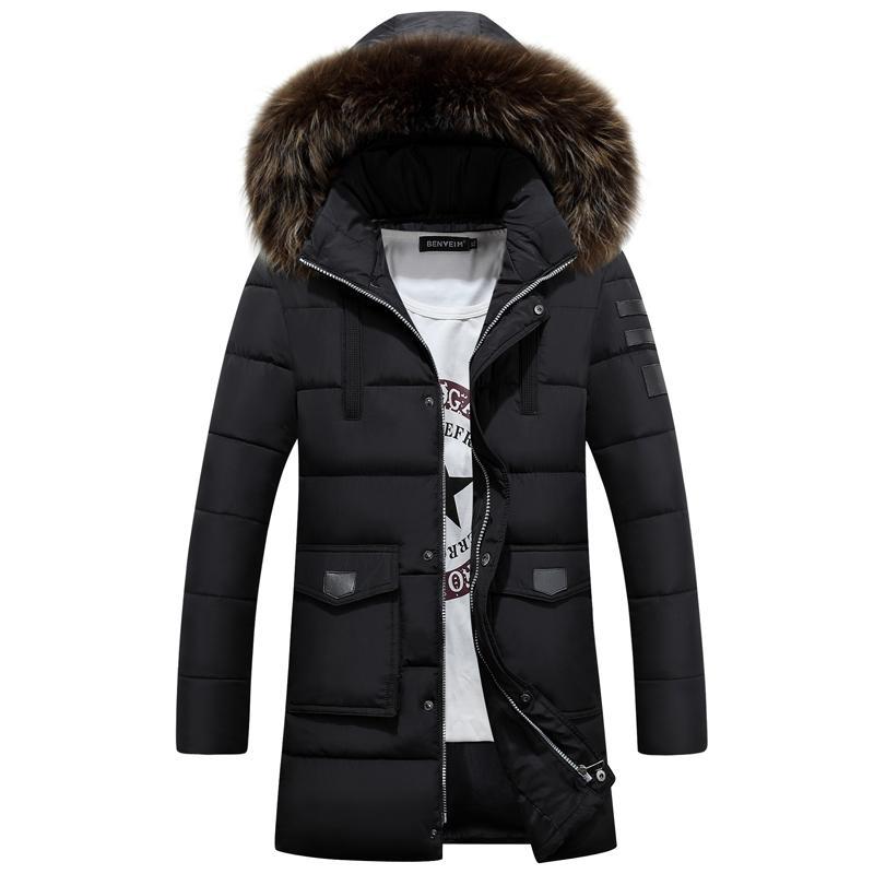 Großhandel 2016 Neue Mode Lange Winterjacke Herren Parka Mantel Dicke Mens  Winter Mit Natürlichen Fell Kapuze Gute Qualität Jacke Männer Outwear Von  ... c74dfb641c