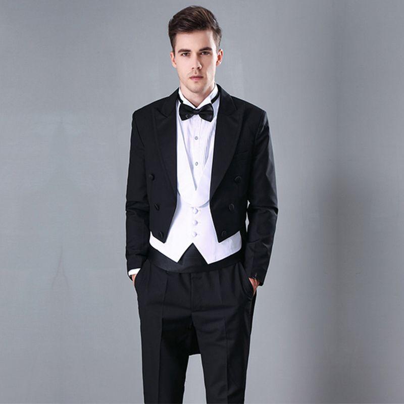 Compre Guapo 2018 Hombres Trajes Negro Enarbolado Solapa De Novia Trajes De  Boda Para Hombre Slim Fit Esmoquin Formal Bailarín De Noche Vestido De  Noche ... 04a6f7c0a8b