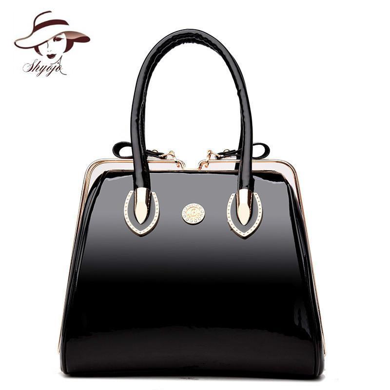 c321142f7093 Luxury High Quality Black Patent Leather Women Bag Ladies Famous Brand  Messenger Handbag Party Purse Tote Designer Crossbody Bag Weekend Bags  Luxury Bags ...