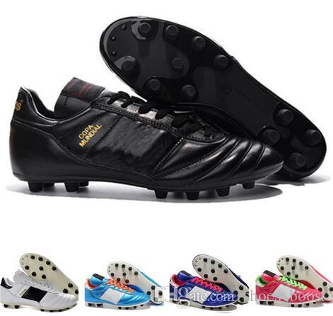 5765f82bb 2019 Mens Copa Mundial Leather FG Soccer Shoes Discount Soccer Cleats 2015 World  Cup Football Boots Size 39 45 Black White Orange Botines Futbol From ...