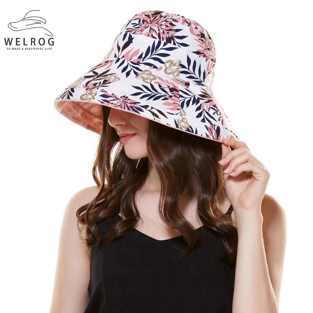 09681019ffa68 WELROG 2018 Top Quality Bucket Hat Women s Sun Hats Lady Summer Foldable  Beach Cap Big Brim Flower Panama Caps Fisherman Hats