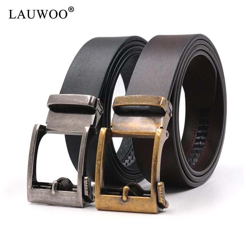 6beebcc5 LAUWOO Hombres Cinturones de Diseño de Cuero Genuino Hombres Cinturón de  Hombre de Alta Calidad de Lujo Cinturones de Hebilla Automática Para ...
