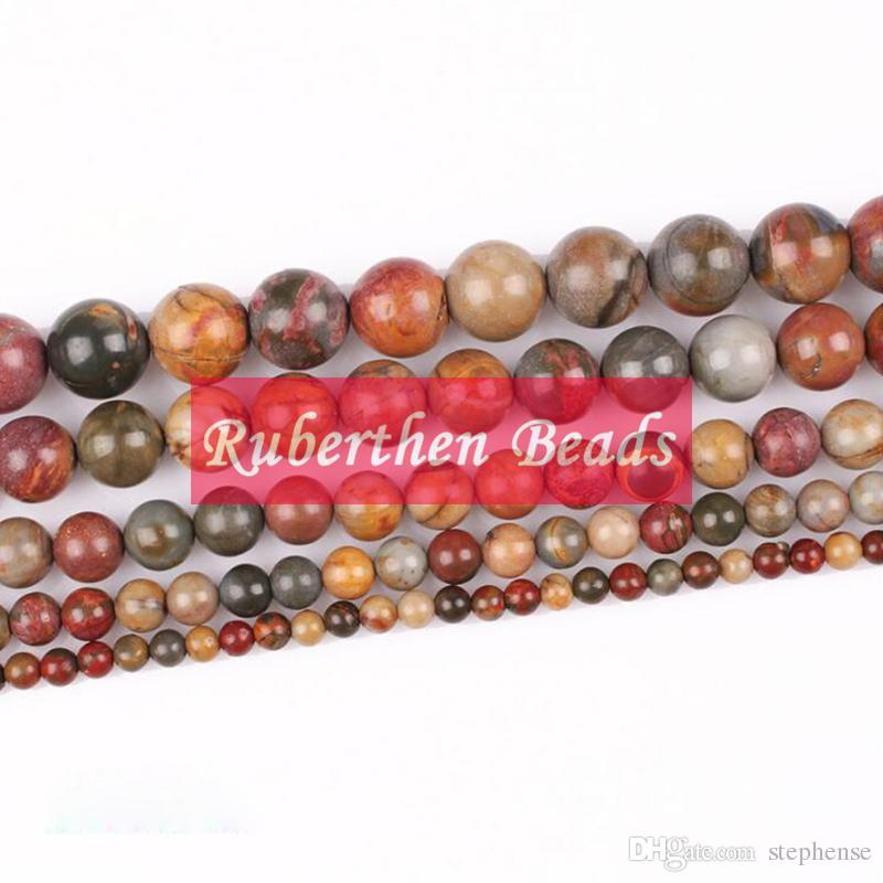 NB0045 Wholesale Natural Loose Beads Stone Red Picasso Jasper Beads Natural Stone 4/6/8/10 mm Round Beads for Making Jewelry
