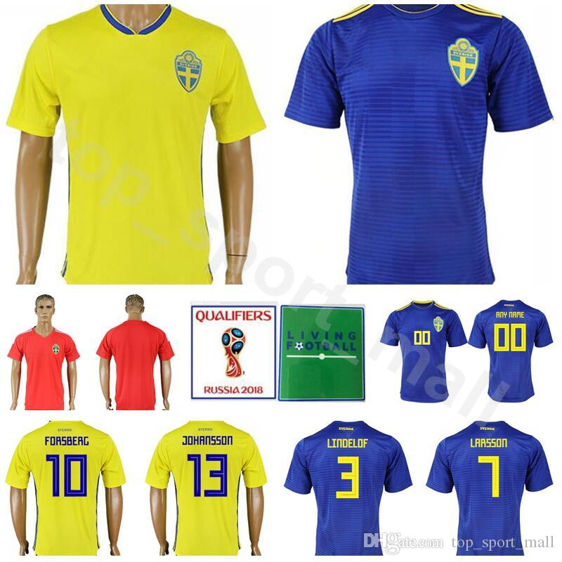 2019 Men Soccer Jersey Sweden Football Shirt Kits 2018 World Cup 11 LARSSON  9 KALLSTROM 1 ISAKSSON 16 SVENSSON 2 LUSTIG Make Custom Yellow Blue From ... b430fbd31