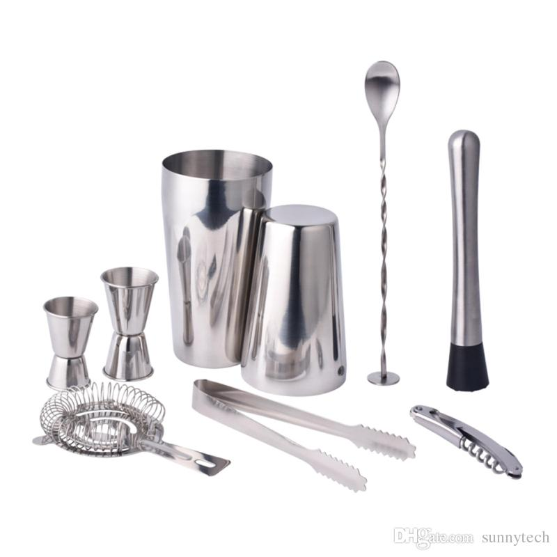 Stainless Steel Cocktail Shaker Mixer Drink Bartender Browser Kit Bars Set Tools Professional Bartender LZ0946