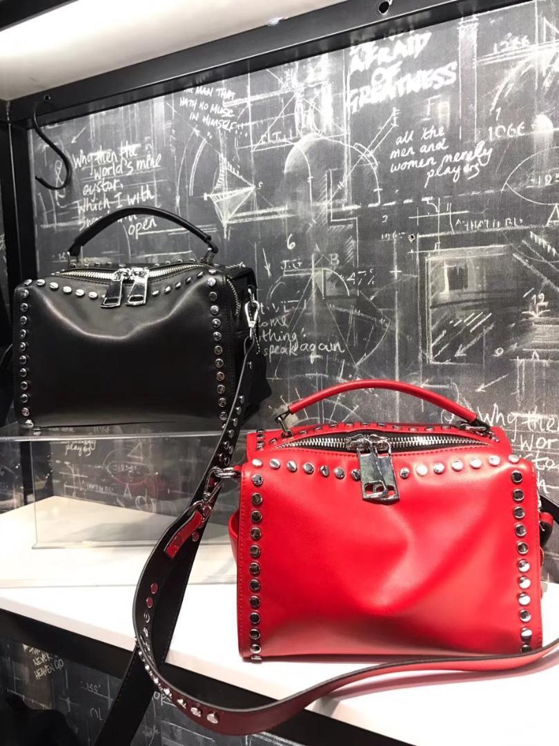 af99138d59 Kafunila 2018 Women Famous Brand Designer Genuine Leather High Quality  Handbag Luxury Female Bags Rivet Style Boston Pillow Bag Crossbody Bags  Cheap ...