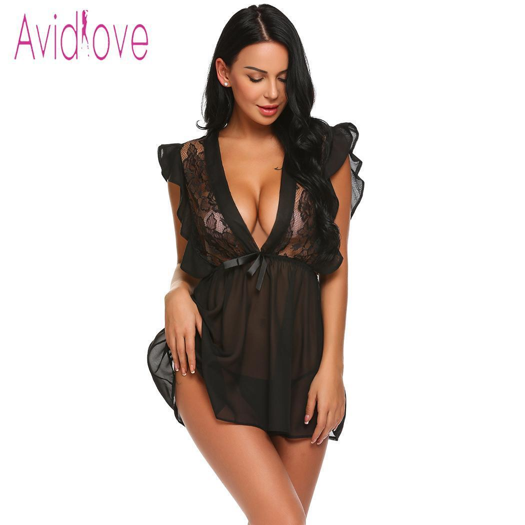 50ec263b0d Avidlove Women Sexy Lingerie Babydoll Ruffles Cap Sleeve Lace Patchwork See  Through Short Sexy Costumes Night Dress Lenceria Y1892909 Sexy Underwear  Mens ...